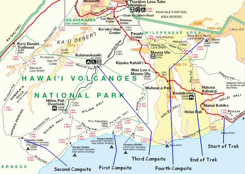 Extract from Hawaii Volcanoes National Park Map to include trails followed during 50-Mile Trek
